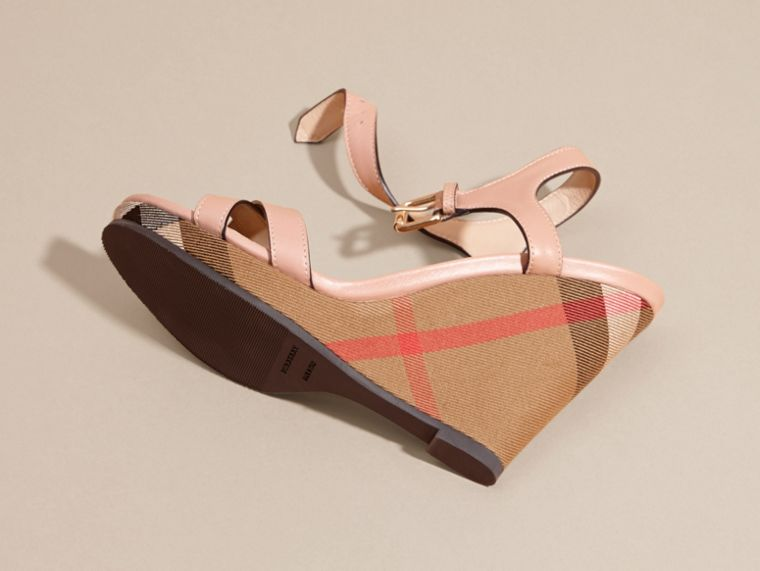 House Check Detail Leather Wedge Sandals in Nude Blush - Women | Burberry - cell image 1