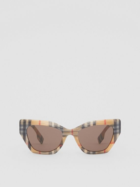 Vintage Check Butterfly Frame Sunglasses in Antique Yellow