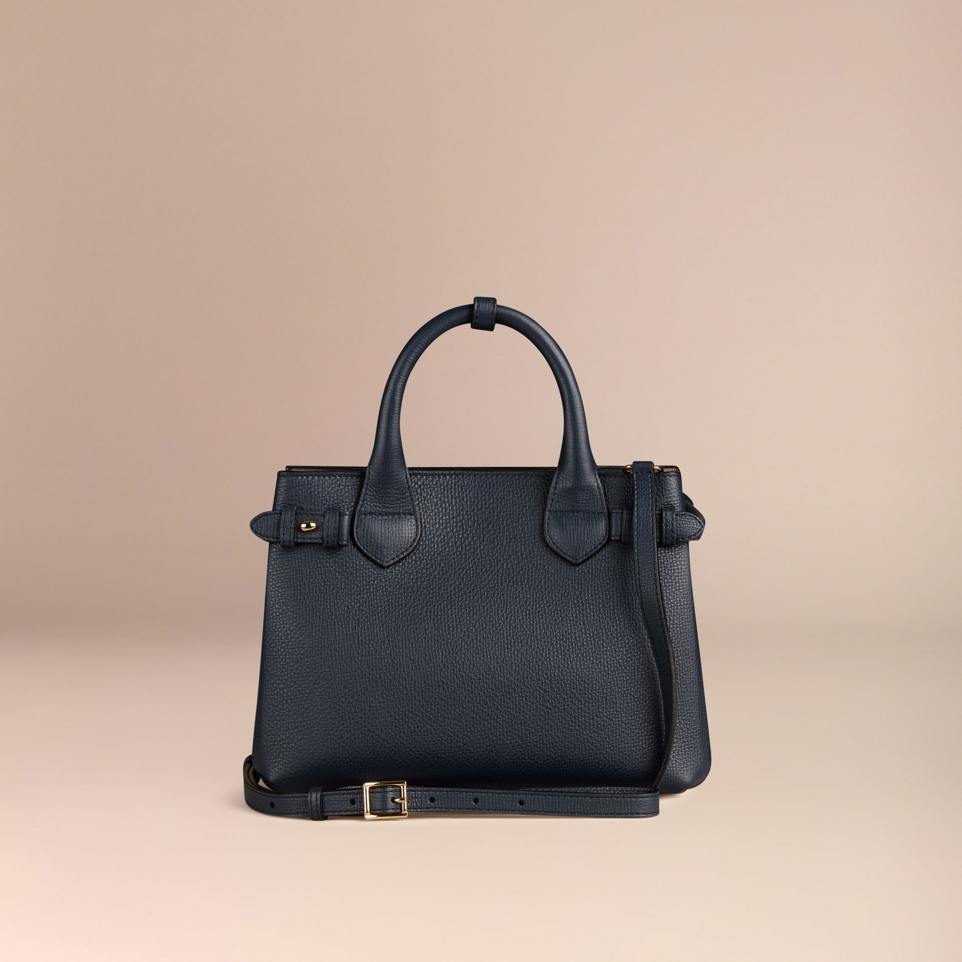The Small Banner in Leather and House Check in Ink Blue - Women | Burberry - gallery image 3