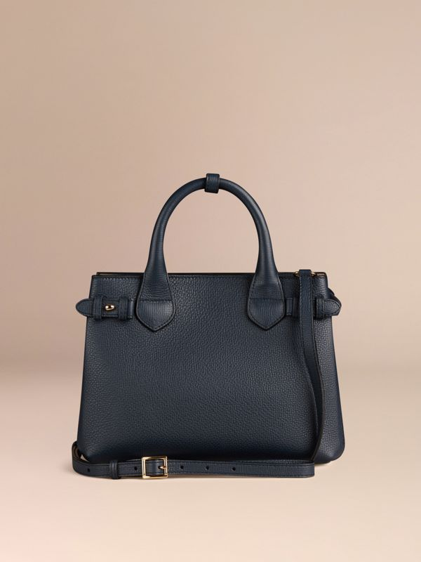 The Small Banner in Leather and House Check in Ink Blue - Women | Burberry Singapore - cell image 3