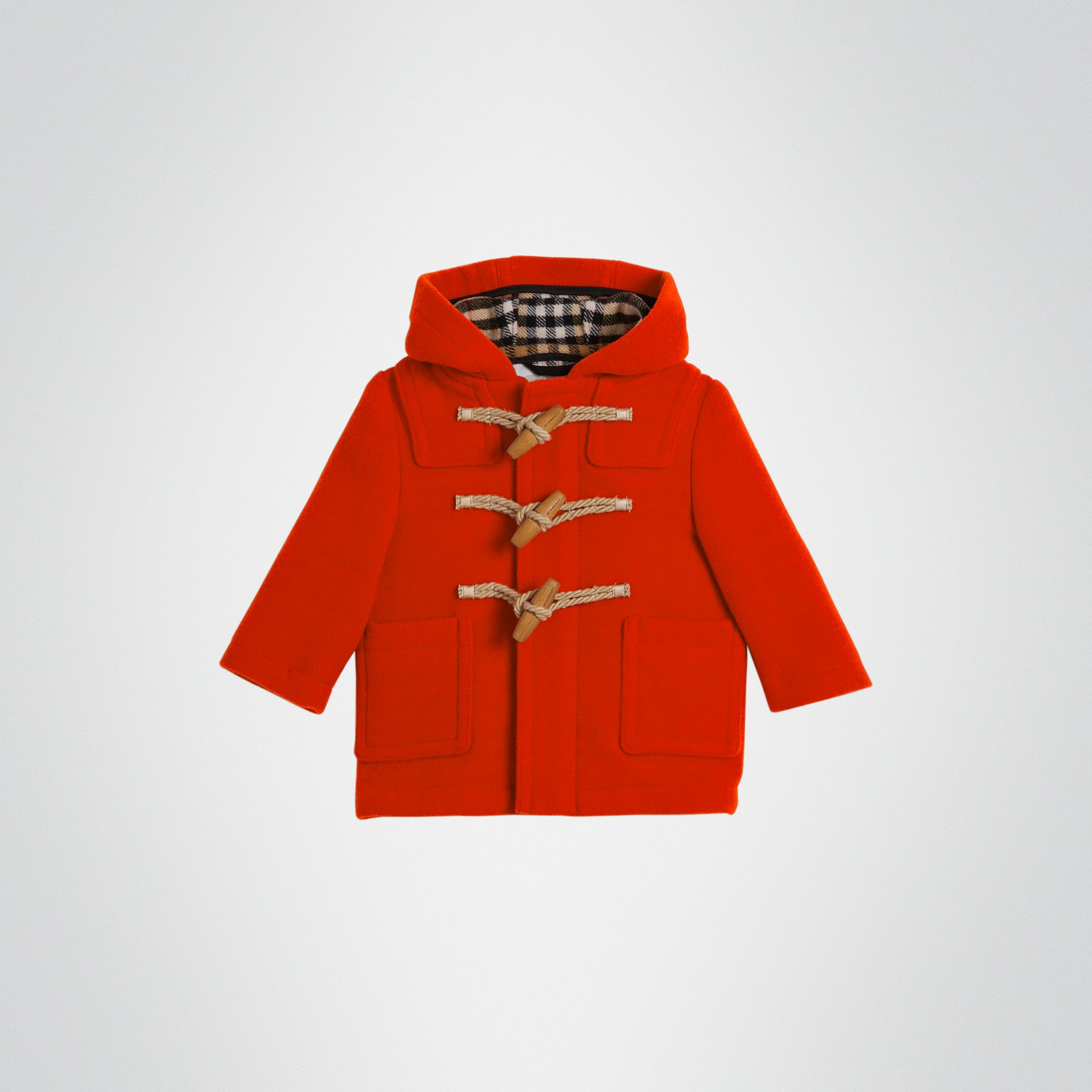 Boiled Wool Duffle Coat in Orange Red - Children | Burberry Australia - gallery image 0