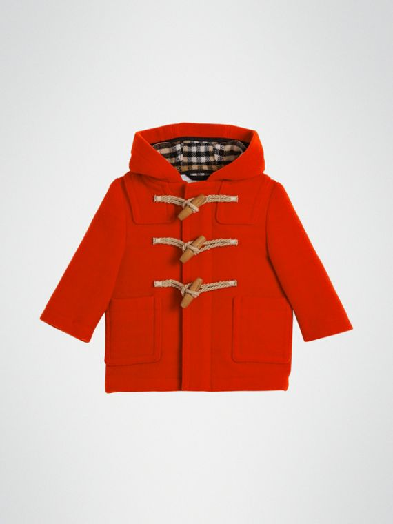 Boiled Wool Duffle Coat in Orange Red