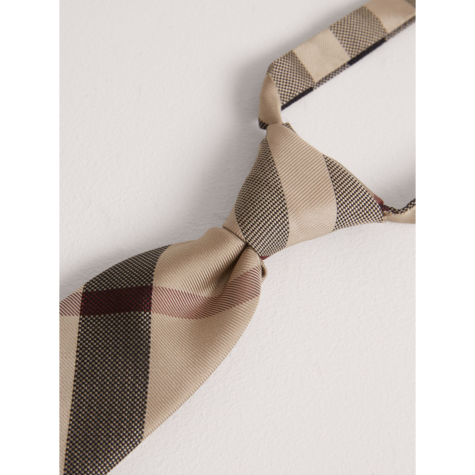 Modern Cut Check Silk Tie in New Classic - Children | Burberry United Kingdom - gallery image 1