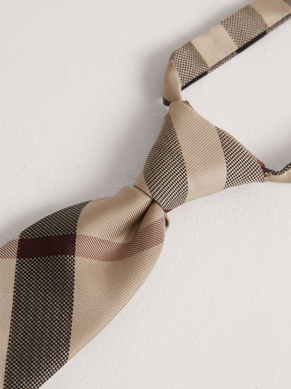 Modern Cut Check Silk Tie in New Classic - Children | Burberry United Kingdom - cell image 1