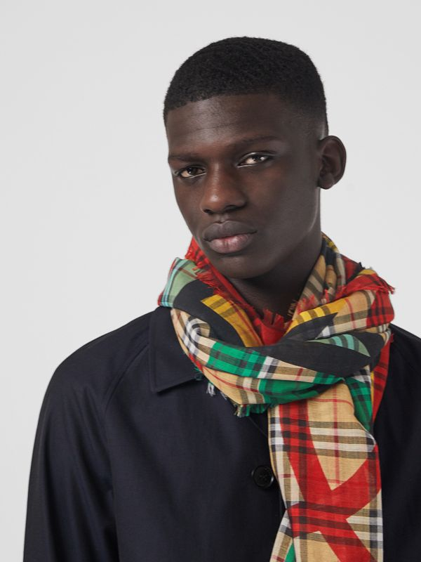 Poster Graphic Print Wool Silk Large Square Scarf in Cornflower Blue | Burberry United Kingdom - cell image 3