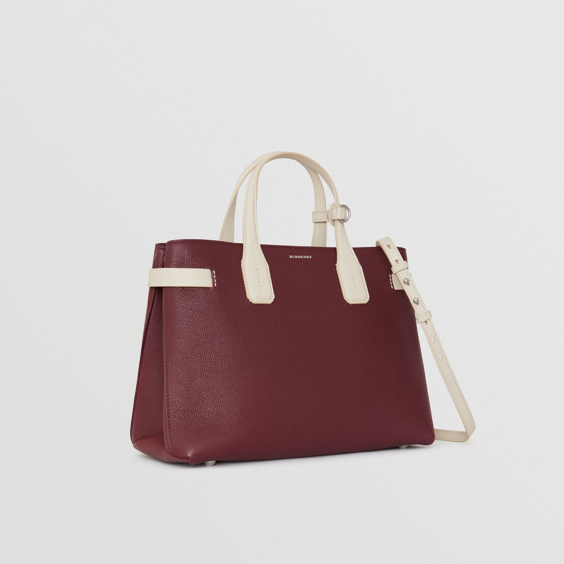 The Medium Banner in Two-tone Leather in Mahogany Red/limestone - Women | Burberry United Kingdom - gallery image 0
