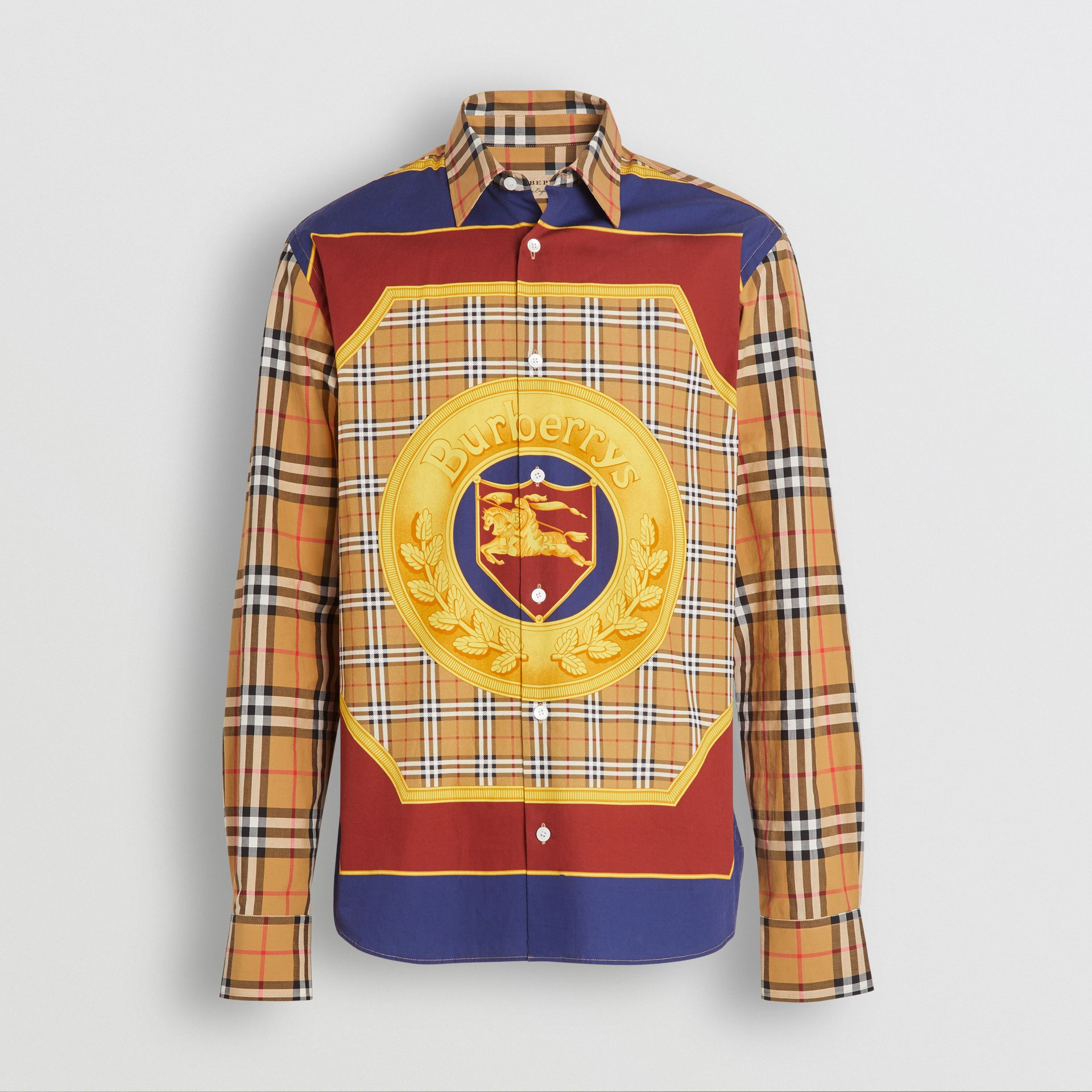 Vintage Check and Archive Scarf Print Shirt in Antique Yellow - Men | Burberry Australia - gallery image 3