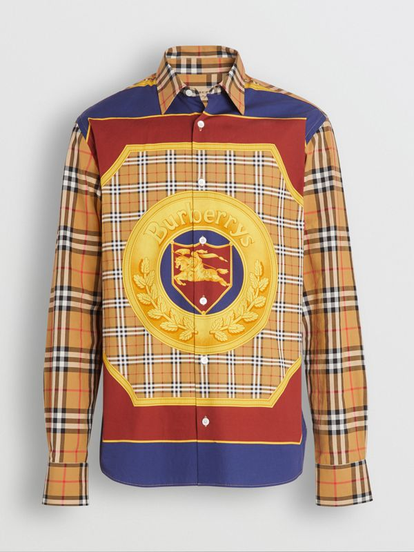 Vintage Check and Archive Scarf Print Shirt in Antique Yellow - Men | Burberry Canada - cell image 3