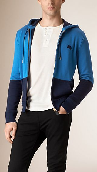 Colour Block Hooded Cotton Top