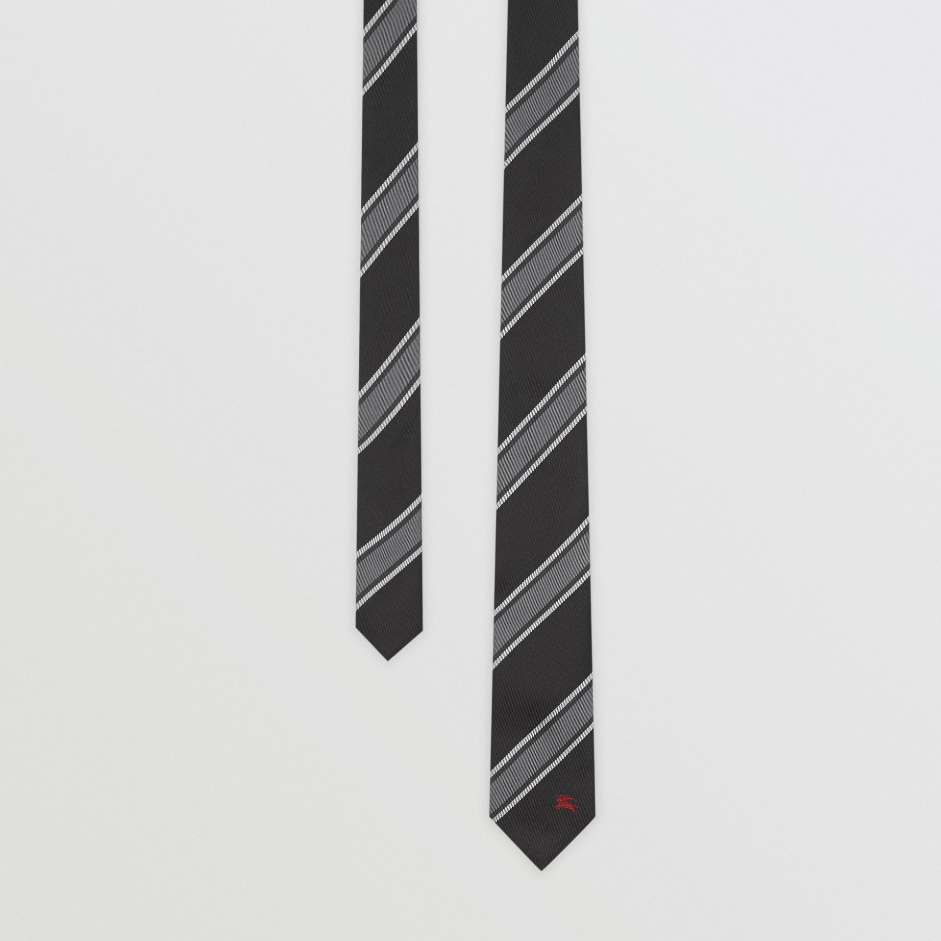 Slim Cut Striped Silk Jacquard Tie in Black - Men | Burberry - gallery image 0