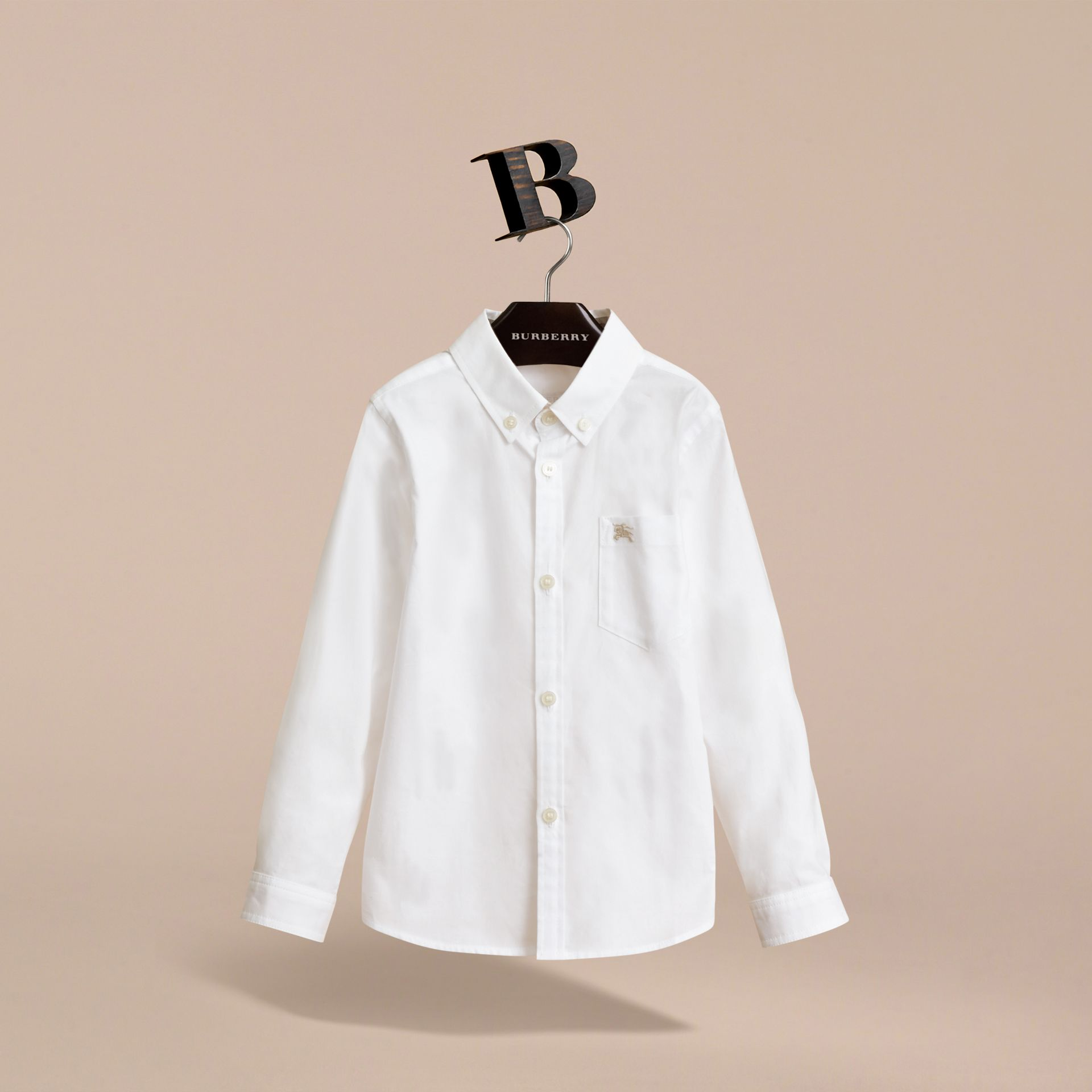 Cotton Button-down Collar Shirt in White - Boy | Burberry - gallery image 2