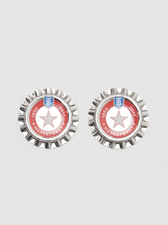 Palladium-plated Bottle Cap Earrings in Palladio