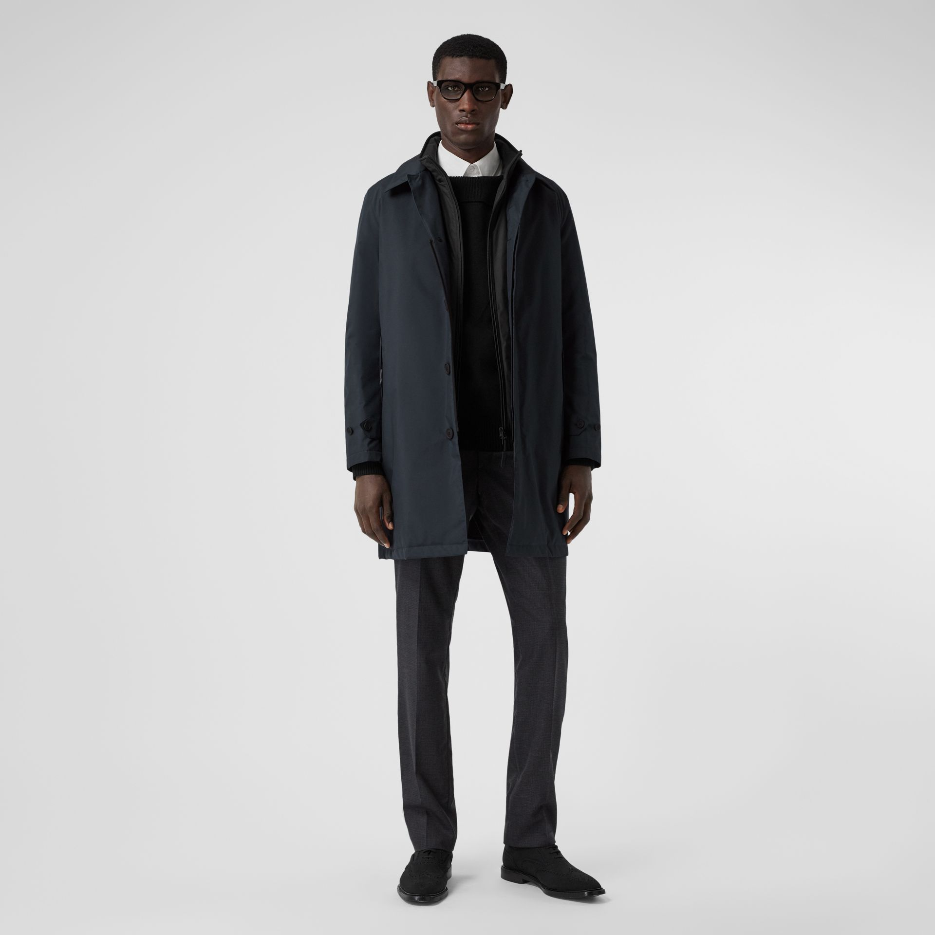 Down-filled Car Coat with Detachable Warmer in Navy - Men | Burberry - gallery image 0