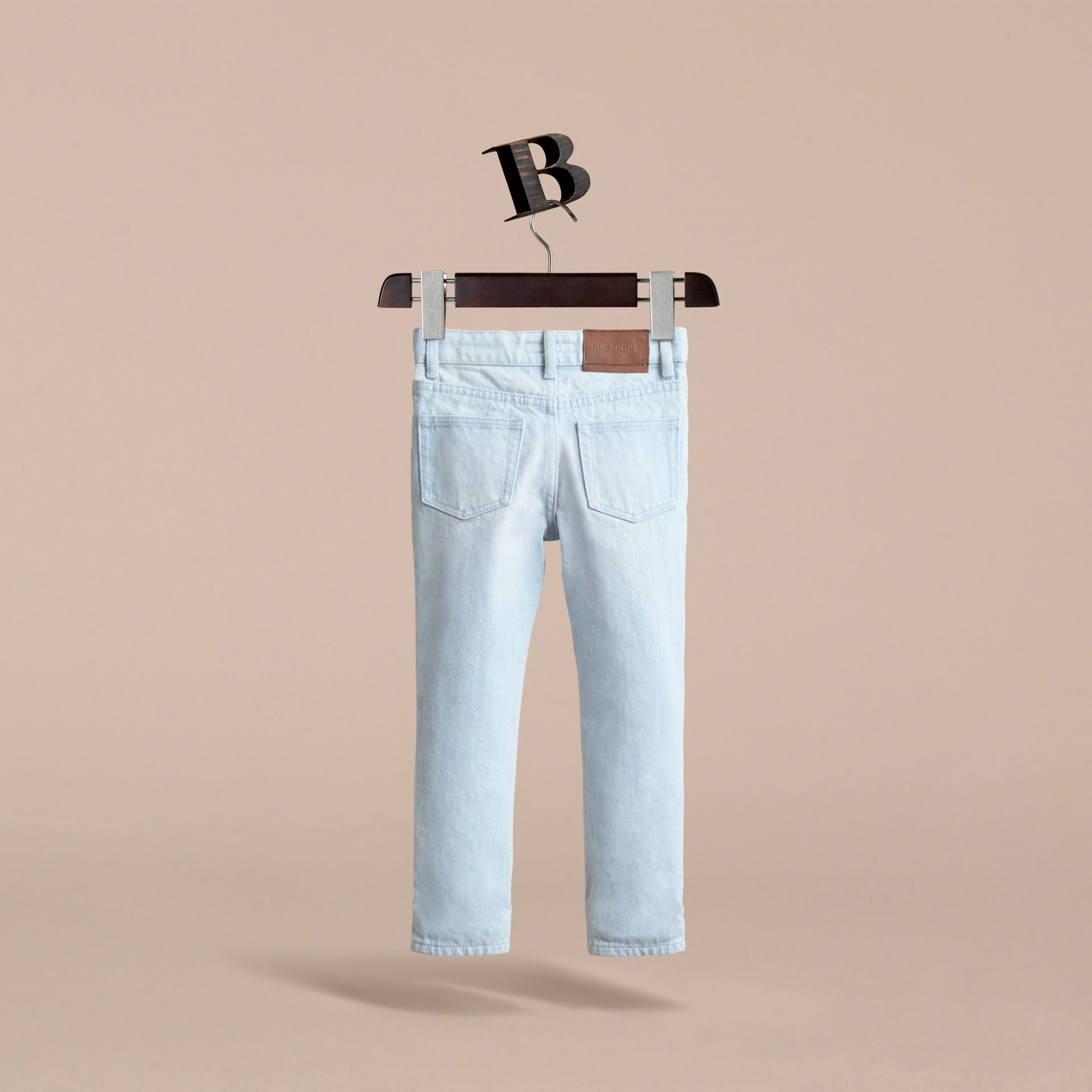 Relaxed Fit Stretch Denim Jeans in Pale Blue - Boy | Burberry - gallery image 4