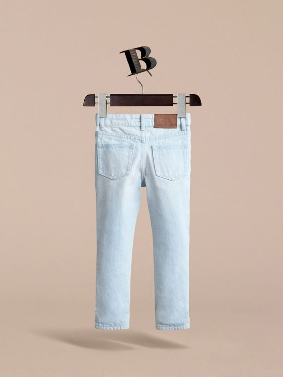 Relaxed Fit Stretch Denim Jeans in Pale Blue - Boy | Burberry - cell image 3
