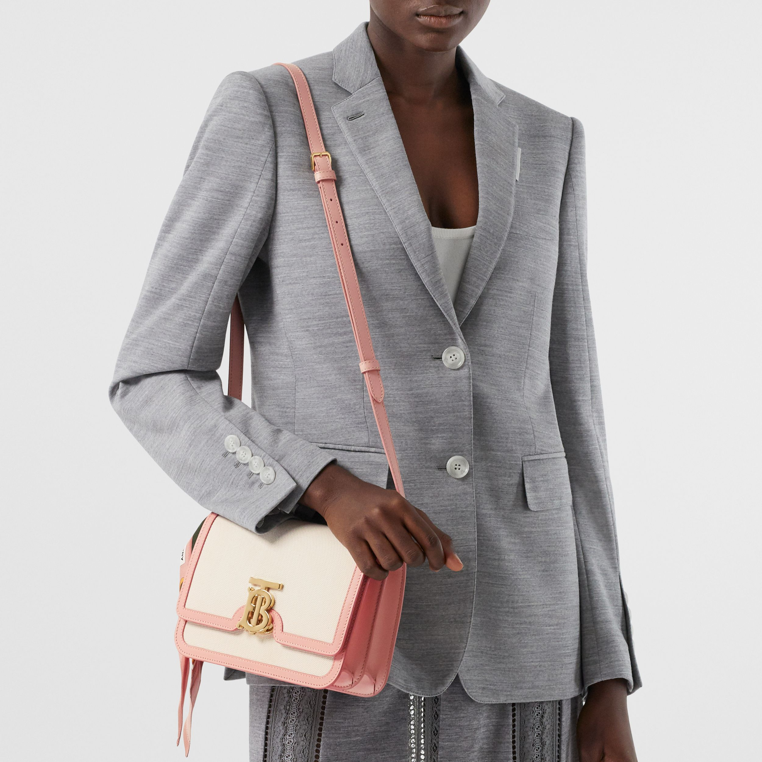 Small Two-tone Canvas and Leather TB Bag in Blush Pink - Women | Burberry - 4