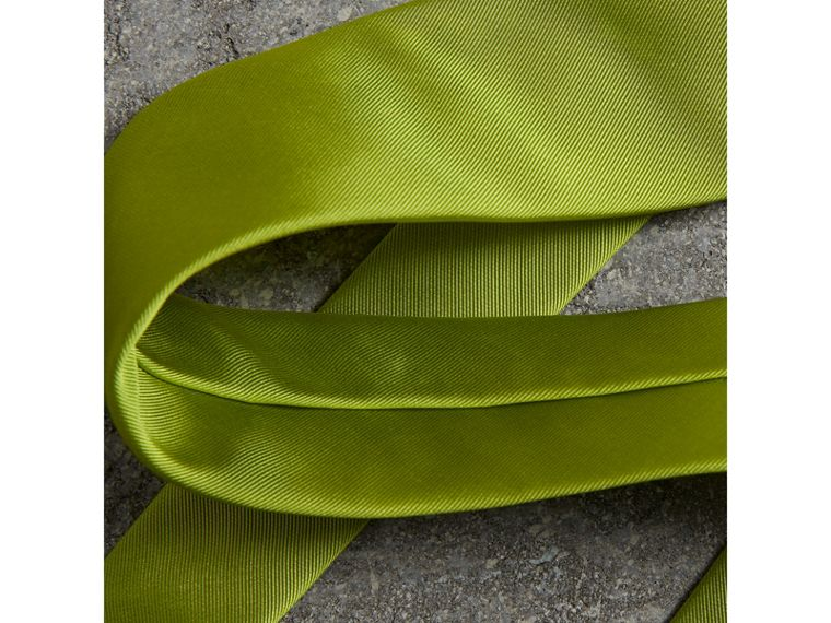 Modern Cut Silk Tie in Bright Lime - Men | Burberry United Kingdom - cell image 1