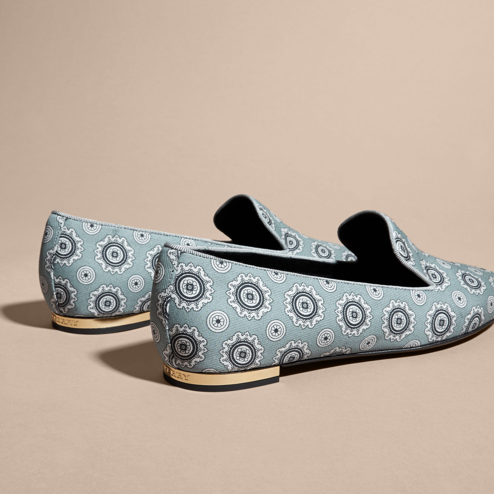 Pale stone blue Pyjama Print Silk Cotton Loafers - gallery image 4