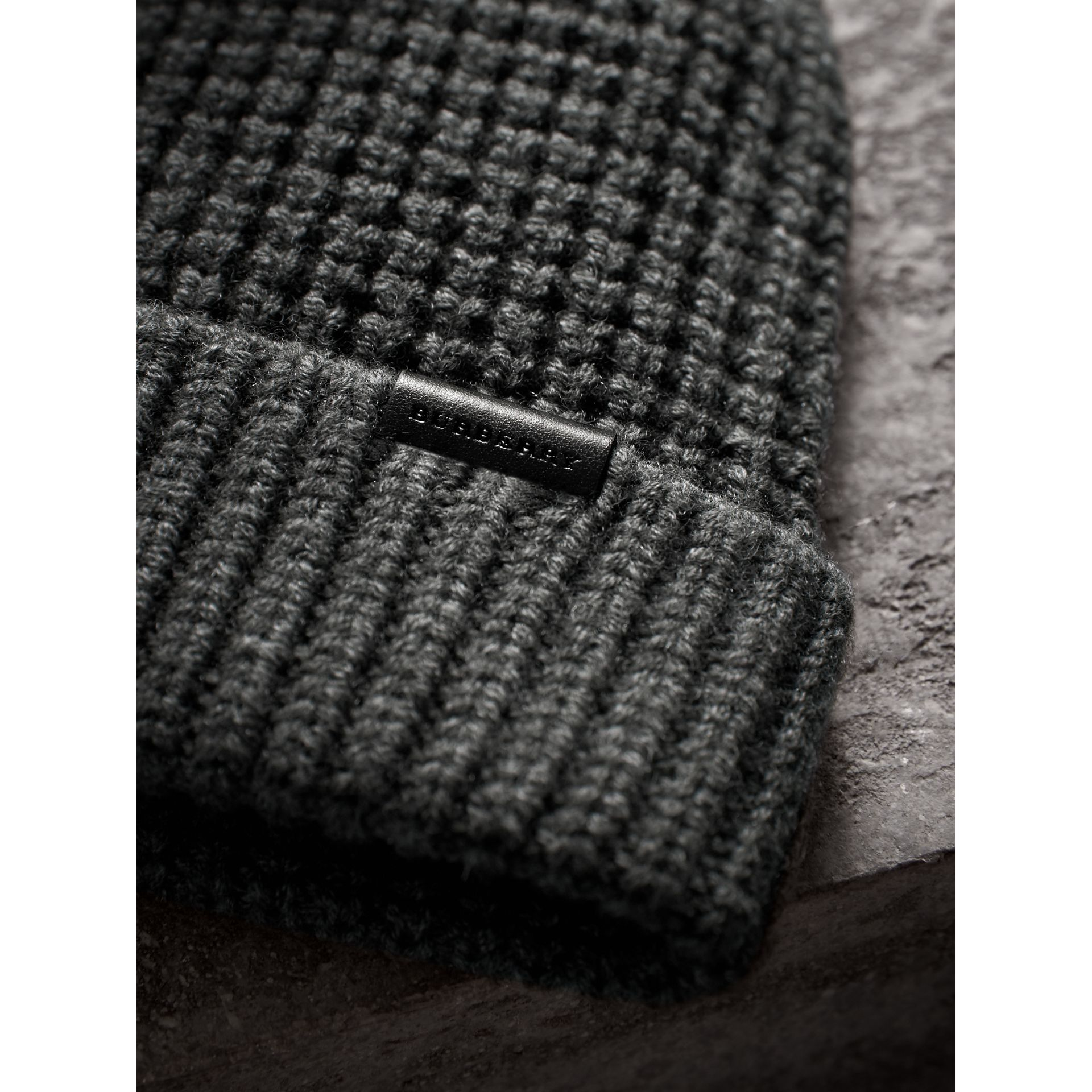 Cashmere Blend Waffle Knit Beanie in Mid Grey | Burberry - gallery image 1
