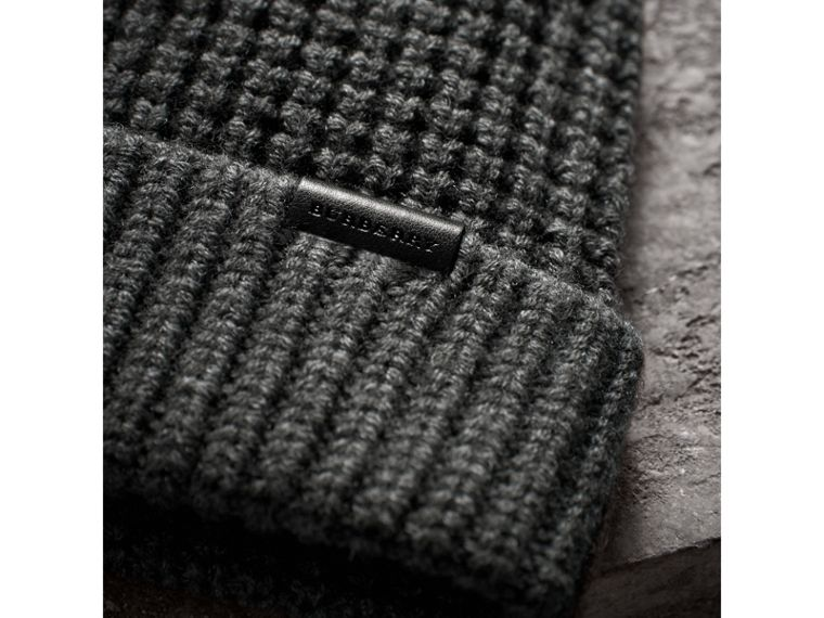 Cashmere Blend Waffle Knit Beanie in Mid Grey | Burberry United States - cell image 1