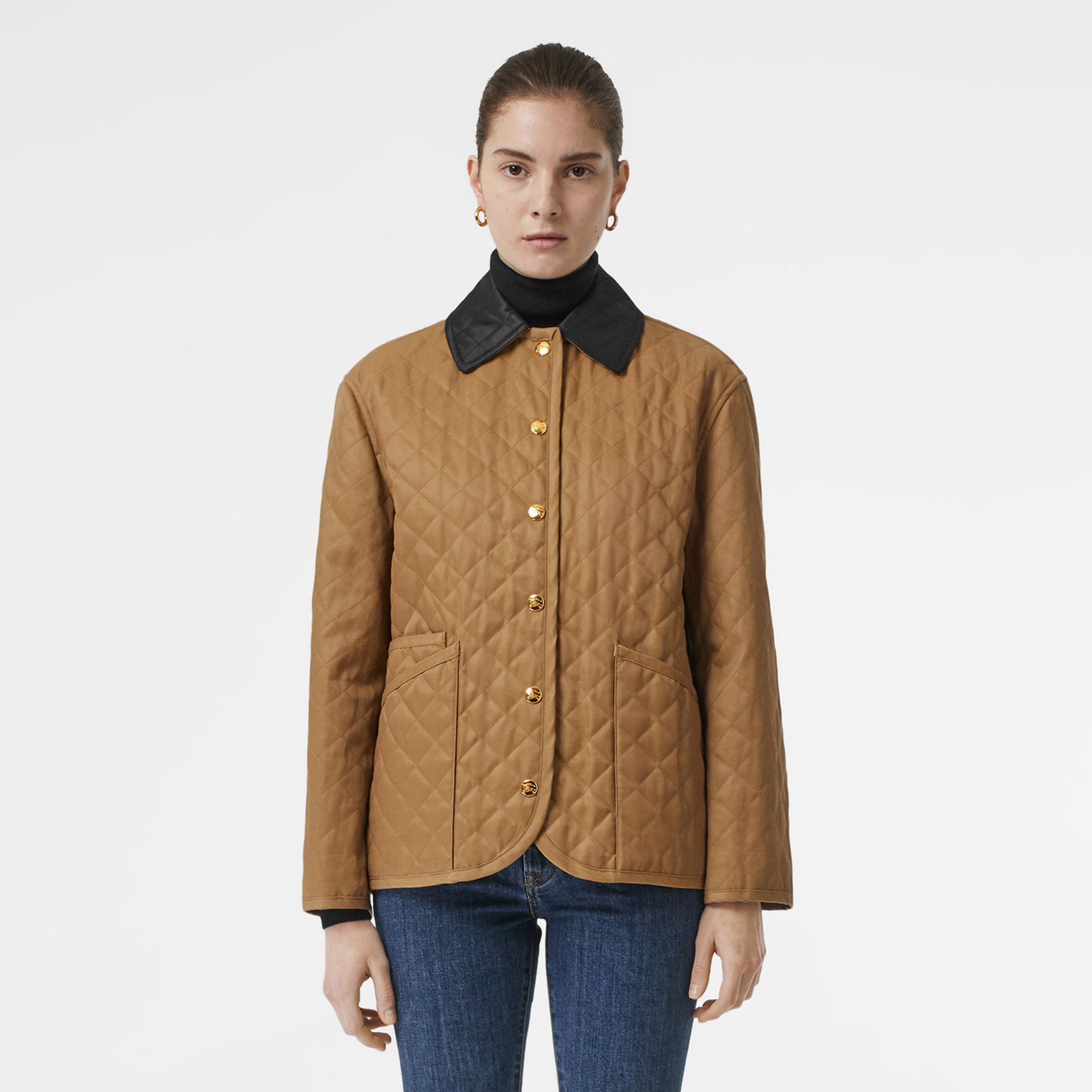 Diamond Quilted Barn Jacket in Camel - Women | Burberry - gallery image 6