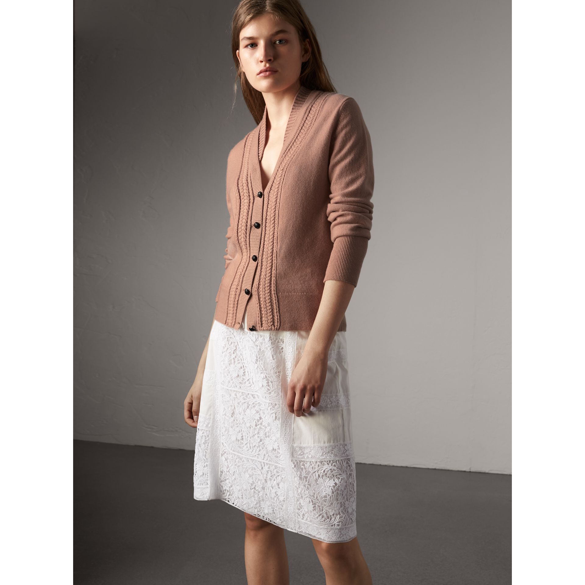 Cable Knit Detail Cashmere Cardigan in Apricot Pink - Women | Burberry - gallery image 1