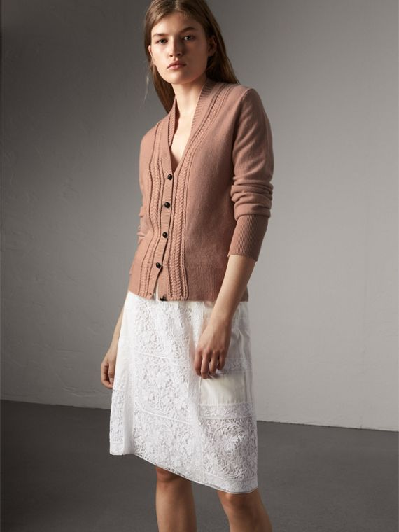 Cable Knit Detail Cashmere Cardigan in Apricot Pink - Women | Burberry