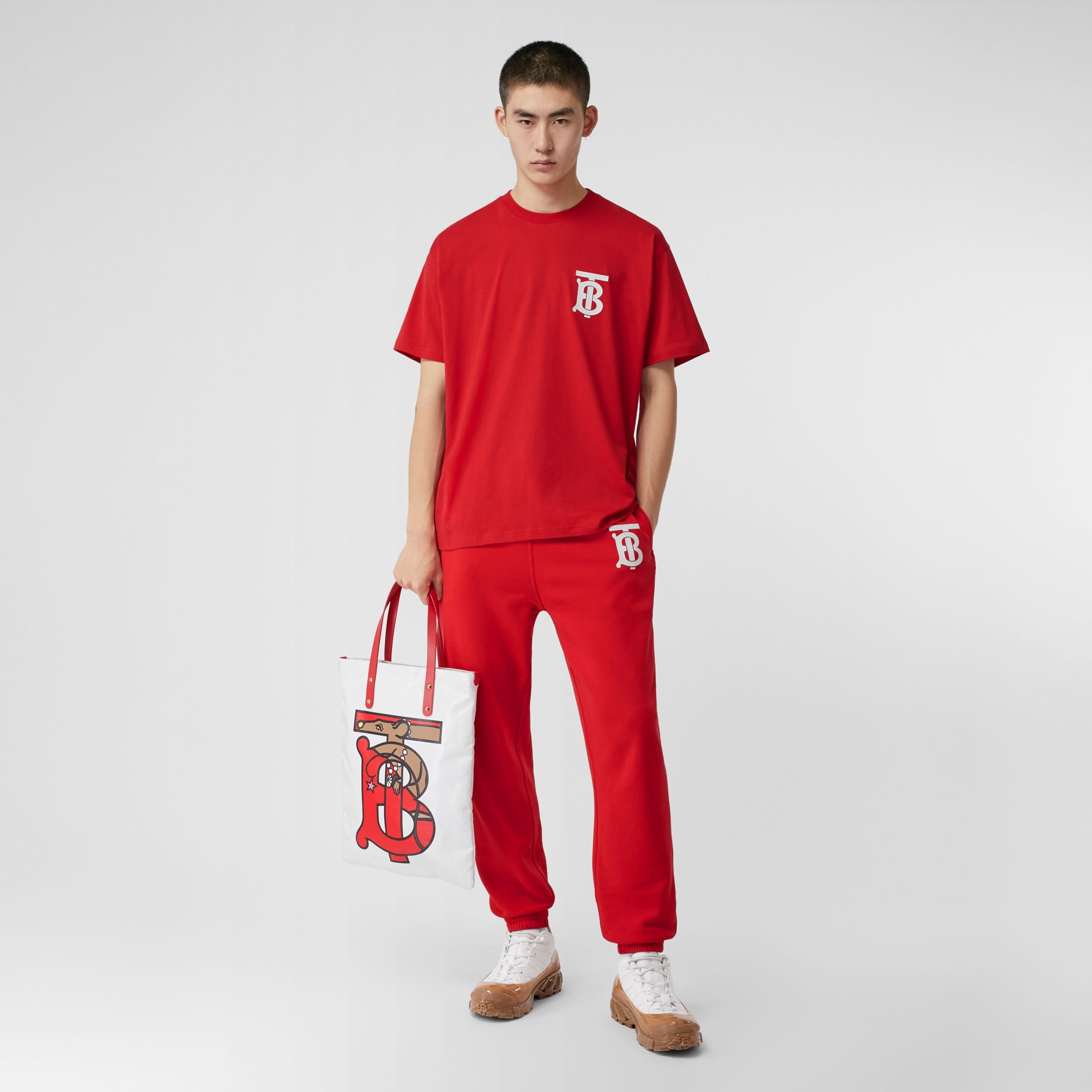 Monogram Motif Cotton Oversized T-shirt in Bright Red - Men | Burberry United Kingdom - 1