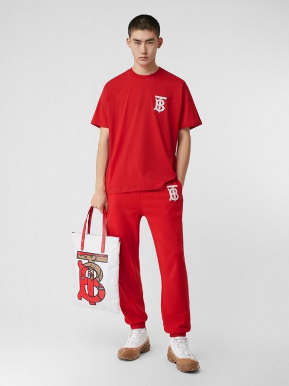 花押字圖案棉質寬版 T 恤 (亮紅色)