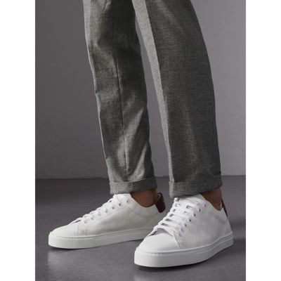 Perforated Check Leather Sneakers - White Burberry Gpgq3r