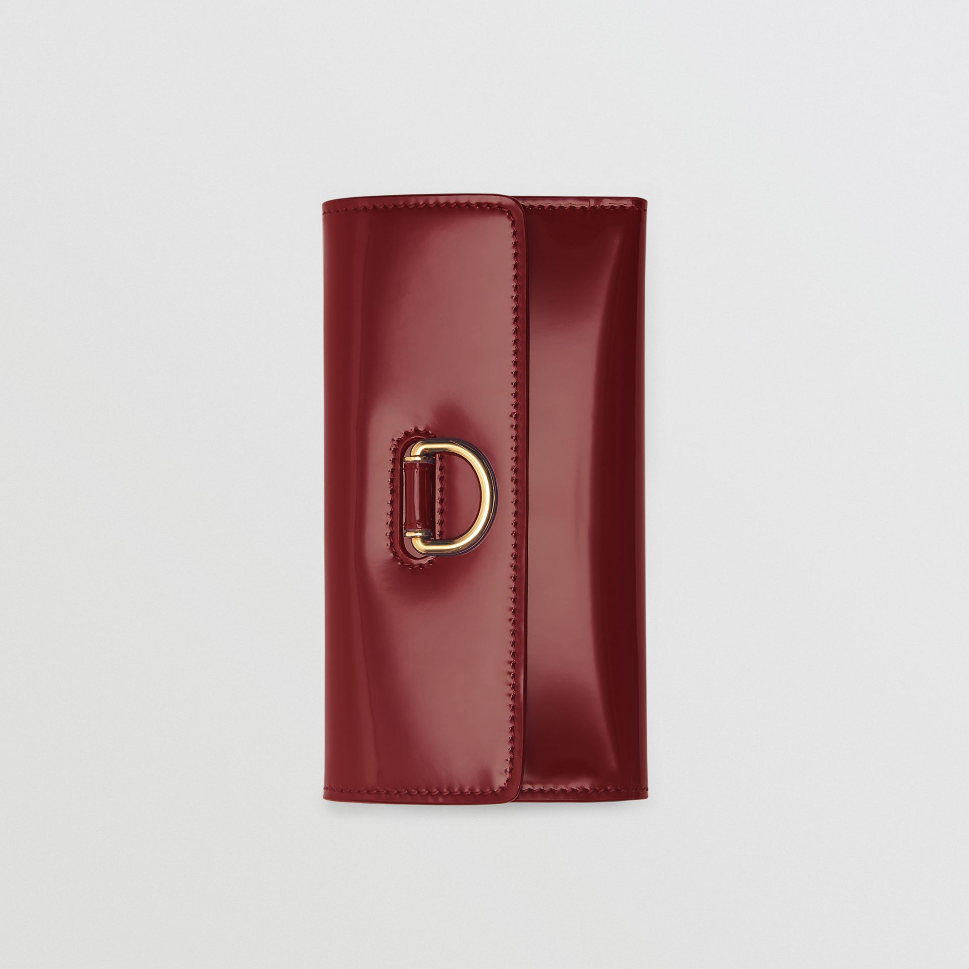 D-ring Patent Leather Continental Wallet in Crimson - Women | Burberry - gallery image 3