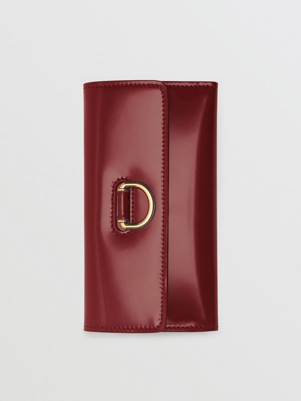D-ring Patent Leather Continental Wallet in Crimson - Women | Burberry - cell image 3