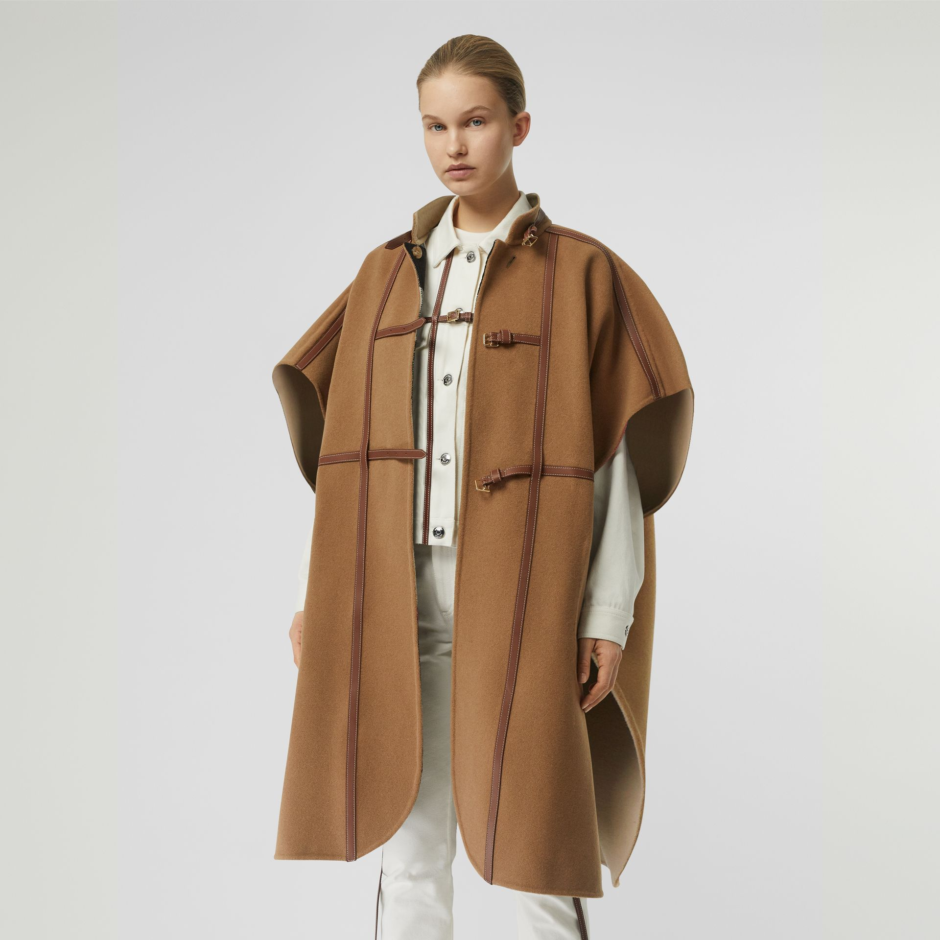 Leather Harness Detail Wool Blend Cape in Camel/honey - Women | Burberry Hong Kong S.A.R - gallery image 4