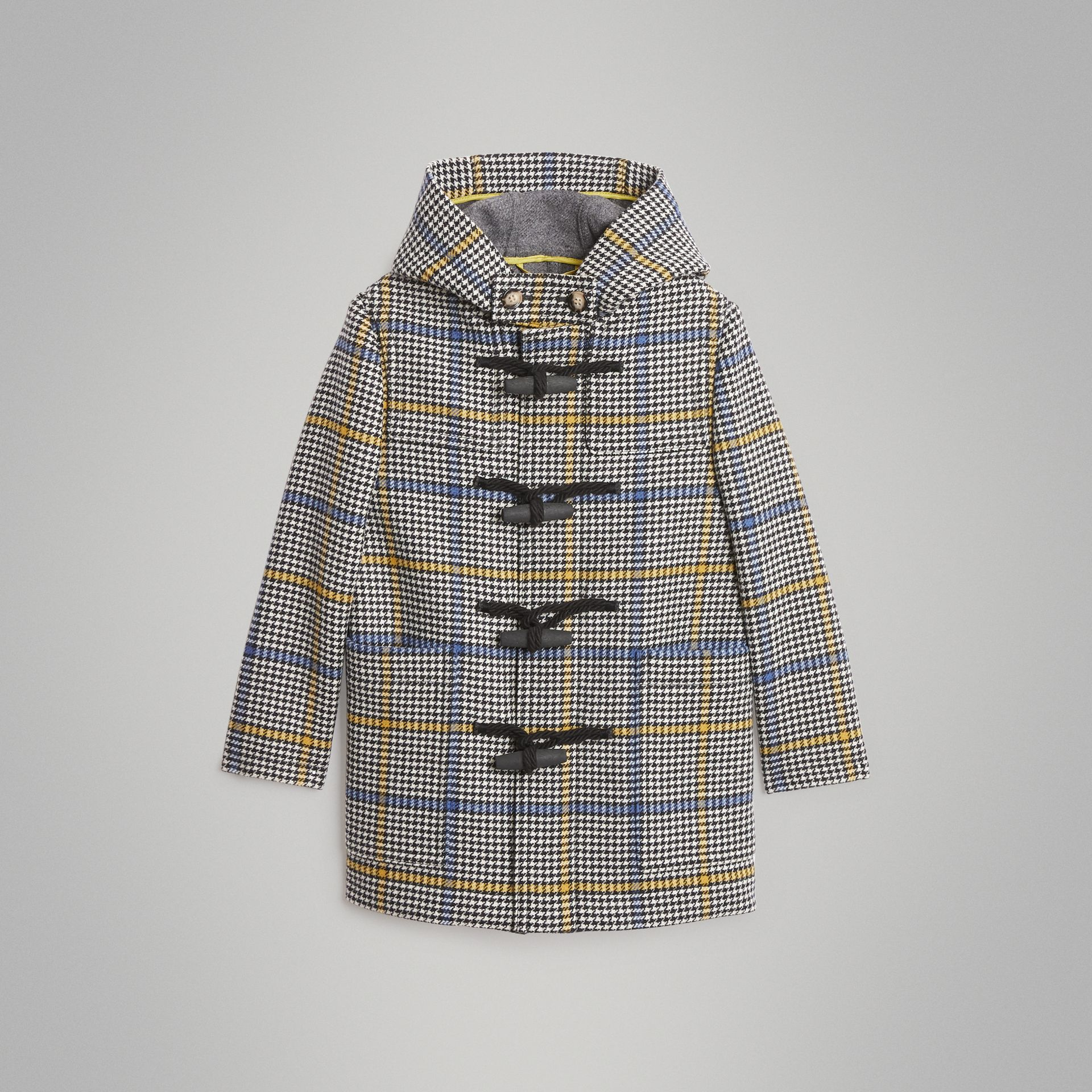 Houndstooth Check Wool Cashmere Duffle Coat in Parchment | Burberry Singapore - gallery image 0