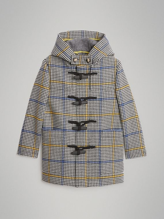 Houndstooth Check Wool Cashmere Duffle Coat in Parchment