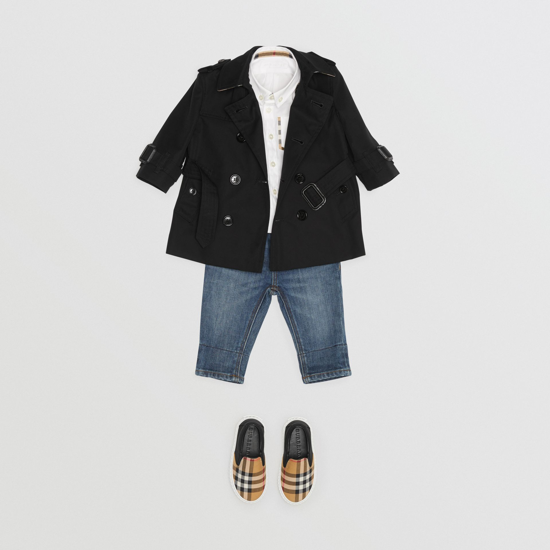 Cotton Gabardine Trench Coat in Black - Children | Burberry - gallery image 2