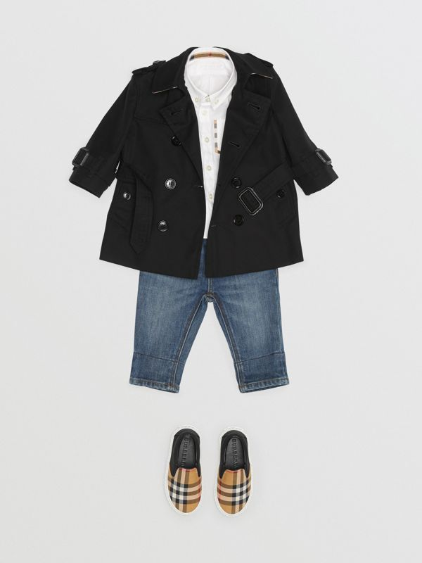 Cotton Gabardine Trench Coat in Black - Children | Burberry Canada - cell image 2