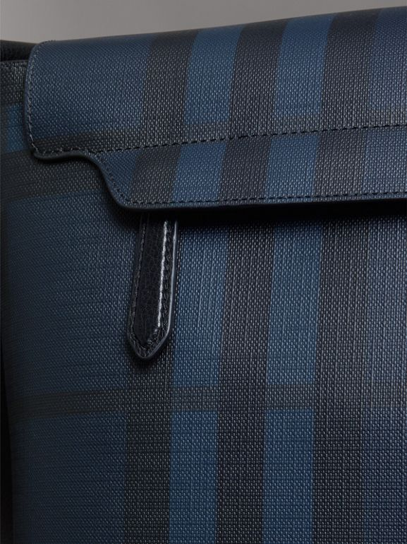 Large London Check Messenger Bag in Navy/black - Men | Burberry - cell image 1