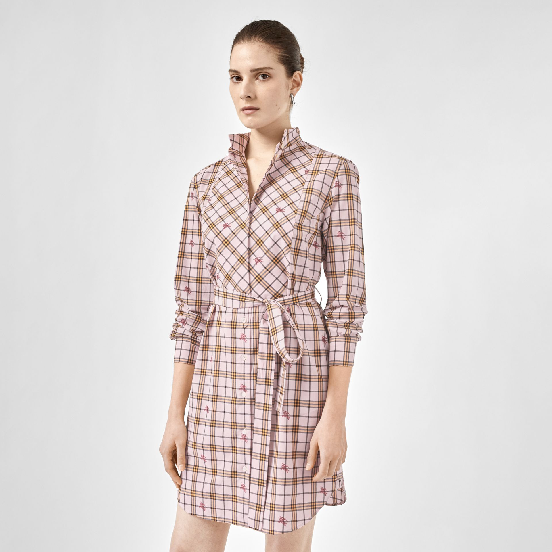 EKD Check Cotton Tie-waist Shirt Dress in Alabaster Pink - Women | Burberry United Kingdom - gallery image 0