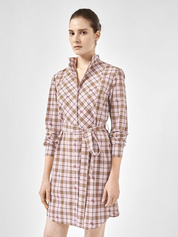 EKD Check Cotton Tie-waist Shirt Dress in Alabaster Pink