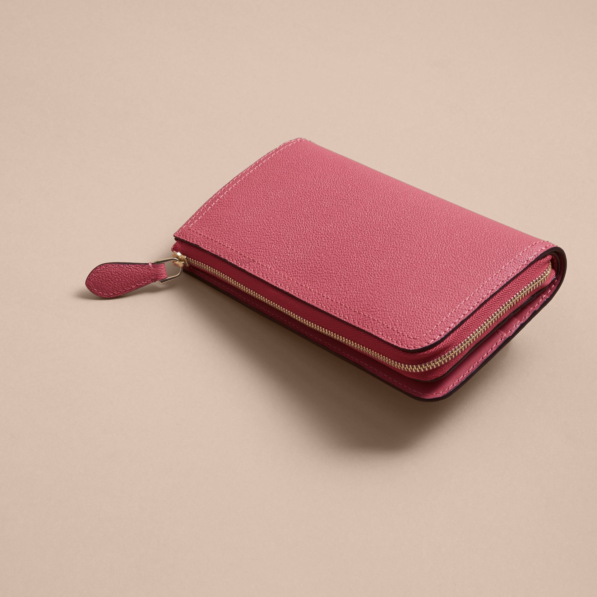 Grainy Leather Ziparound Wallet Pink Azalea - gallery image 5