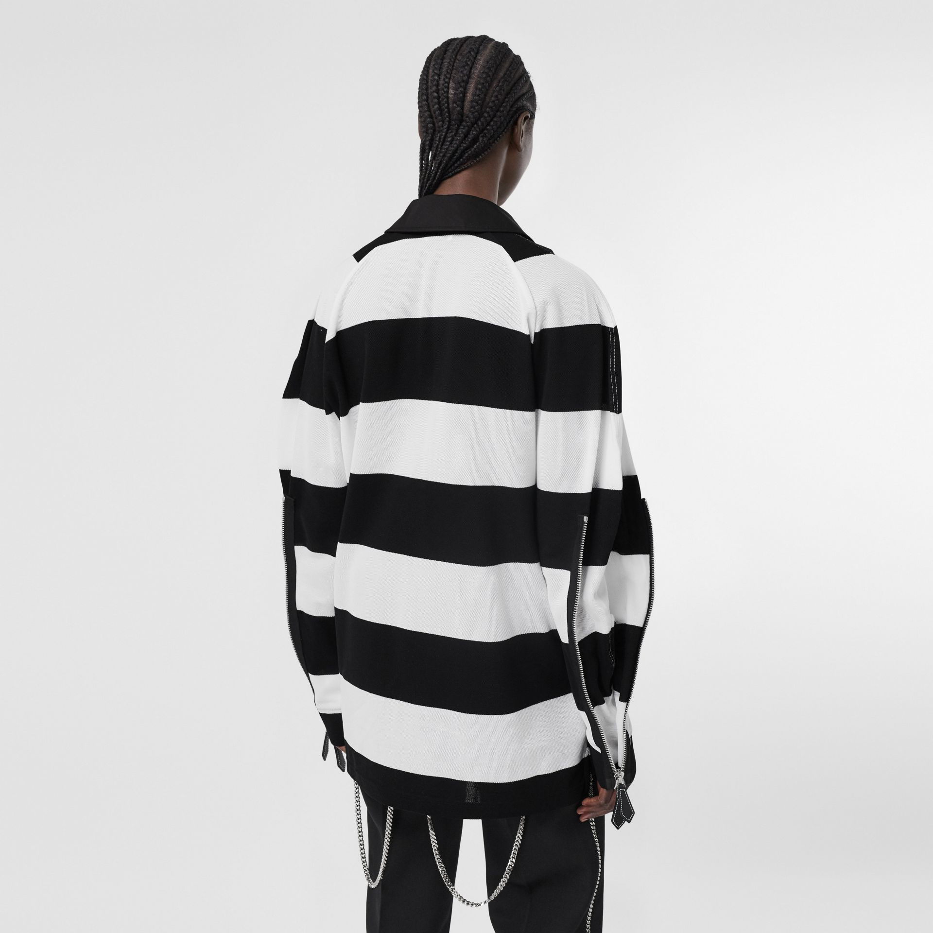 Zip Detail Striped Cotton Piqué Oversized Rugby Shirt in Black/white - Women | Burberry - gallery image 2