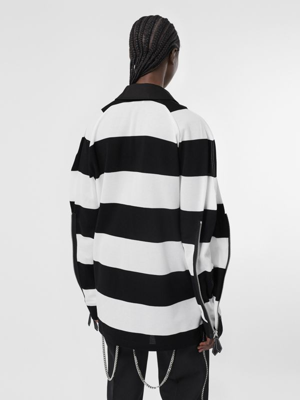 Zip Detail Striped Cotton Piqué Oversized Rugby Shirt in Black/white - Women | Burberry Hong Kong S.A.R - cell image 2