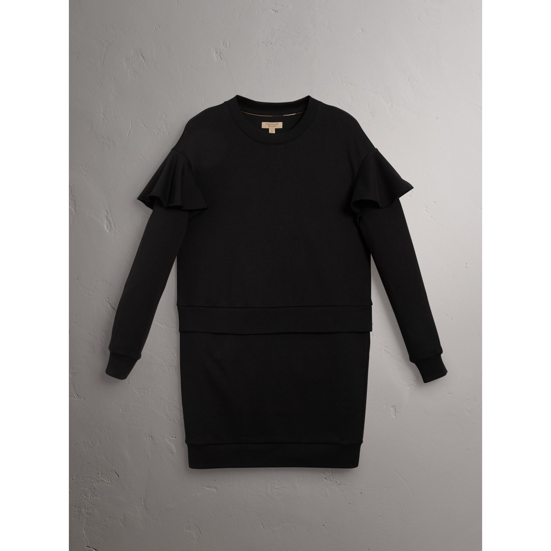 Ruffle-sleeve Cotton Sweater Dress in Black - Women | Burberry - gallery image 4