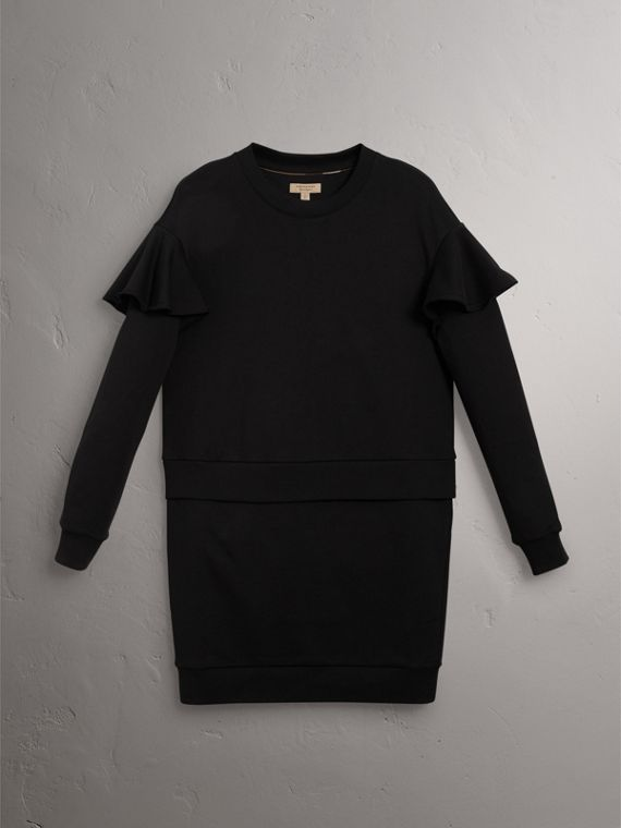 Ruffle-sleeve Cotton Sweater Dress in Black - Women | Burberry Canada - cell image 3