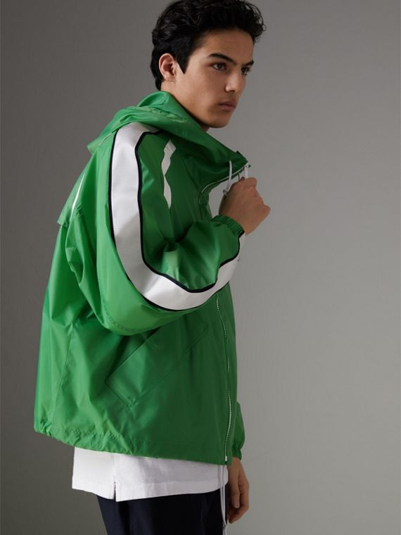 Stripe Detail Showerproof Hooded Jacket in Bright Pigment Green