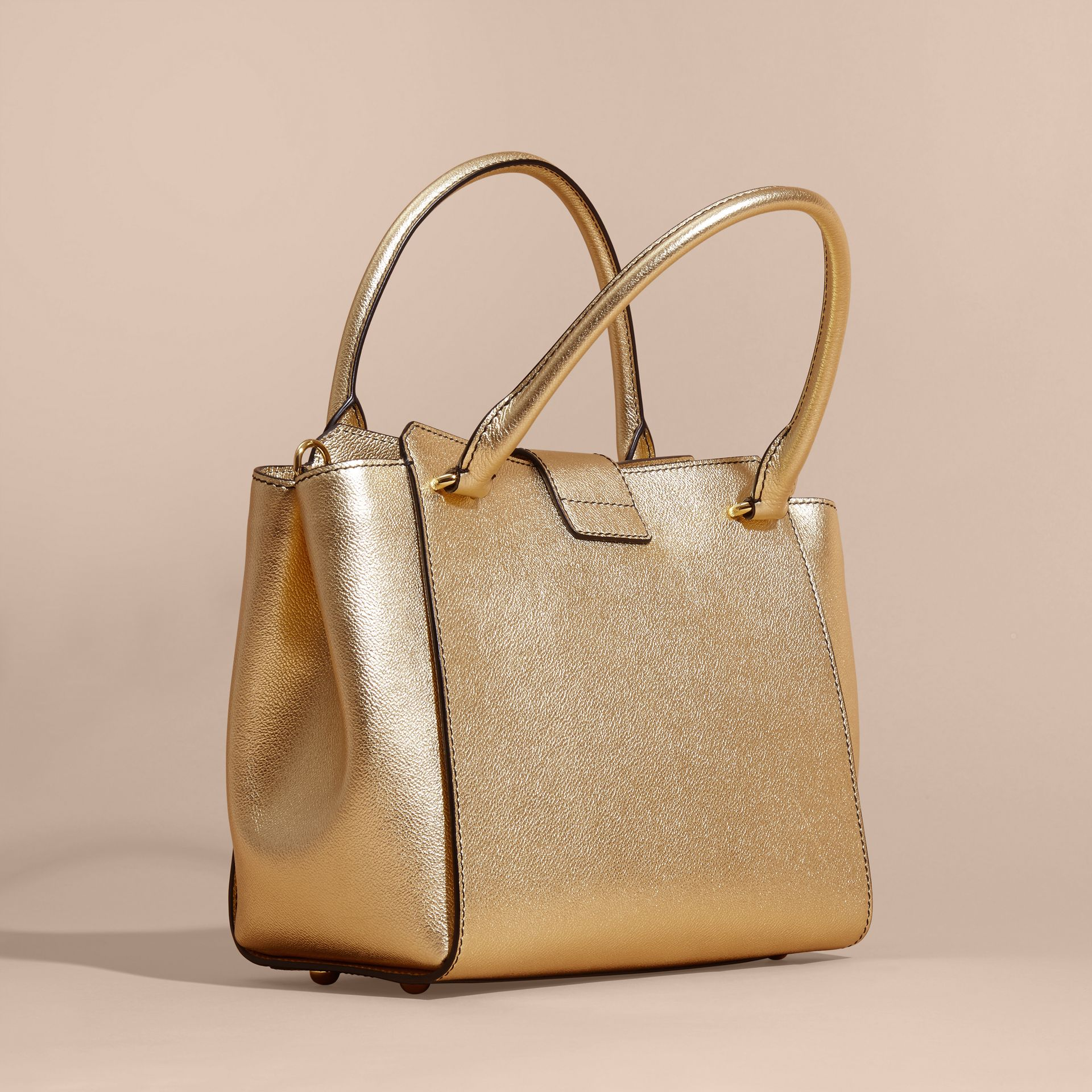 Gold The Medium Buckle Tote in Metallic Leather - gallery image 5