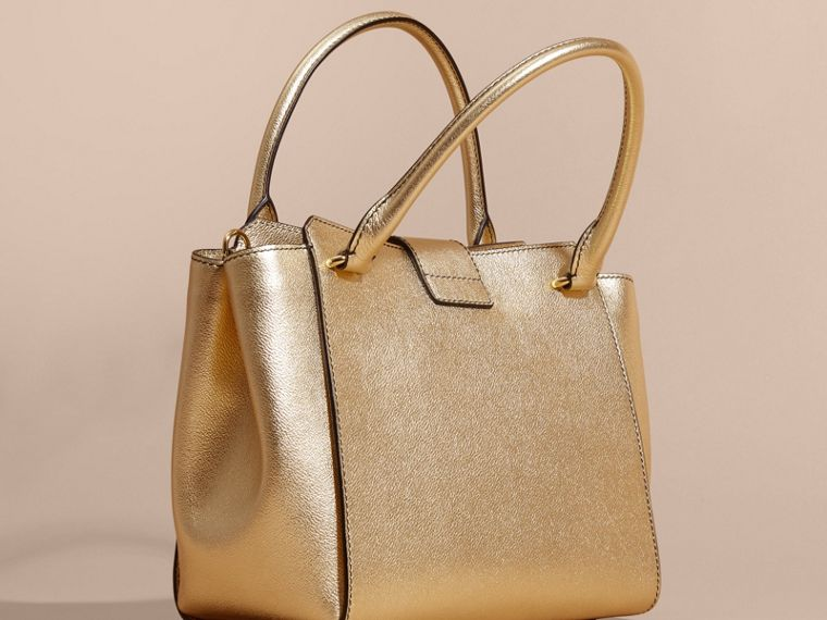 Gold The Medium Buckle Tote in Metallic Leather - cell image 4