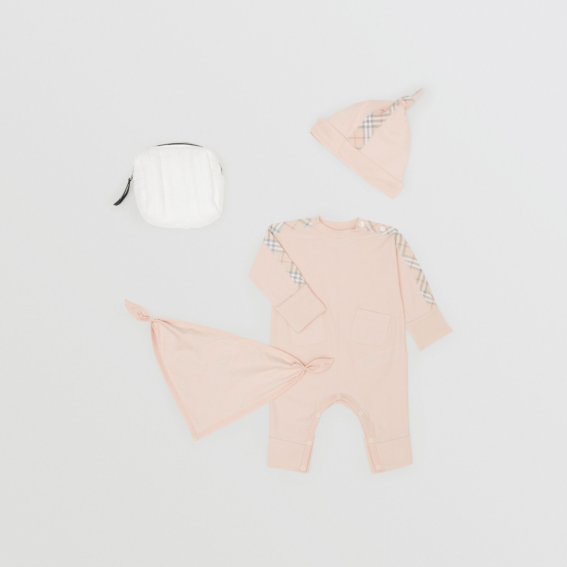 Check Cotton Three-piece Baby Gift Set in Pale Rose Pink - Children | Burberry United Kingdom - gallery image 0