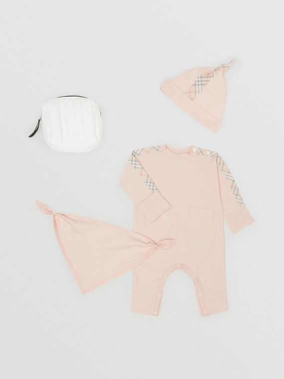 Check Cotton Three-piece Baby Gift Set in Pale Rose Pink